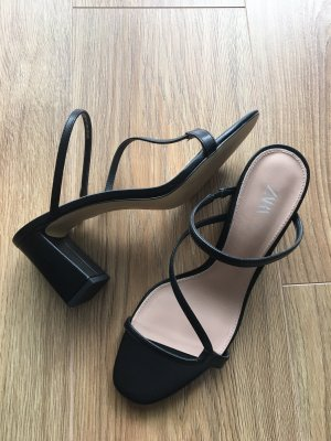 Zara Strapped High-Heeled Sandals black