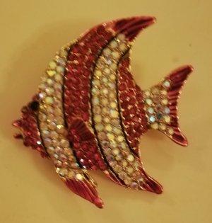 Strass Brosche Fisch rosa