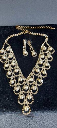 Strass Coillere Set mit Perlen