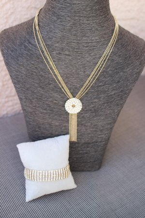 Strass Set Kette & Armband gold Edel