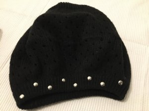 Knitted Hat black-silver-colored mixture fibre