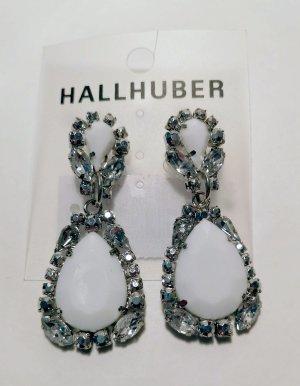 Hallhuber Clou d'oreille blanc-argenté