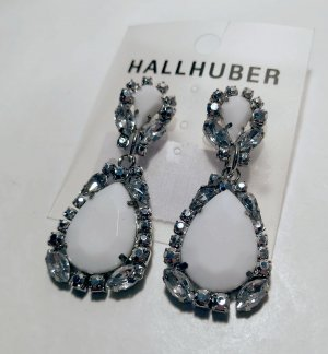 Hallhuber Statement Earrings silver-colored-white