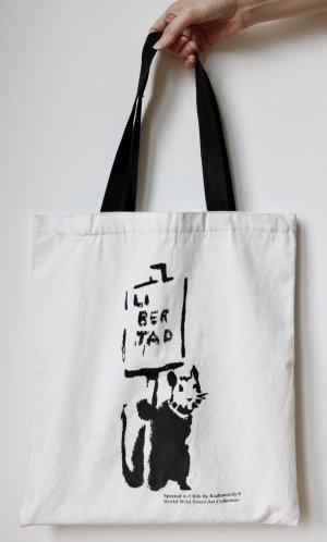 Stoffen tas wit-zwart Katoen