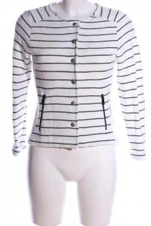 Street One Cardigan weiß-schwarz Streifenmuster Casual-Look