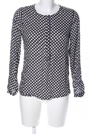 Street One Hemd-Bluse schwarz-weiß Allover-Druck Business-Look