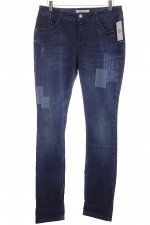 Street One Hoge taille jeans donkerblauw-lichtblauw straat-mode uitstraling