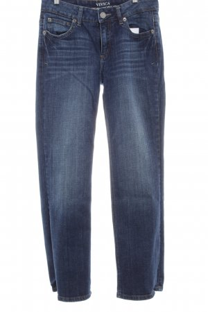 Street One Hoge taille jeans donkerblauw gestippeld casual uitstraling