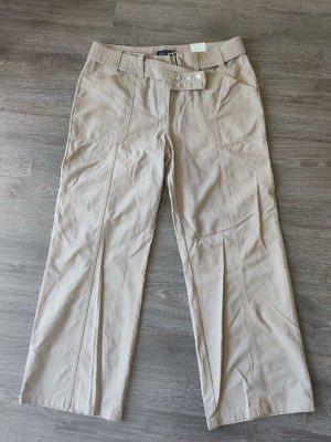 STREET ONE Hose MERLIN Regular beige mit Gürtel weites Bein Gr. 44 / 30 Inch