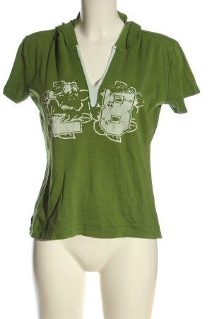 Street One Blusa con capucha verde-blanco letras impresas look casual