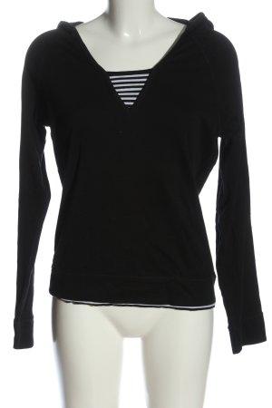 Street One Top à capuche noir-blanc motif rayé style décontracté