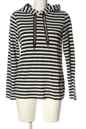 Street One Camicia con cappuccio nero-bianco motivo a righe stile casual