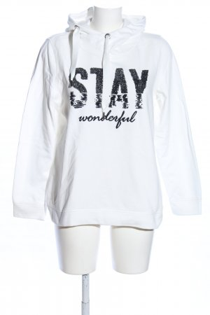 Street One Kapuzensweatshirt weiß-schwarz Schriftzug gestickt Casual-Look