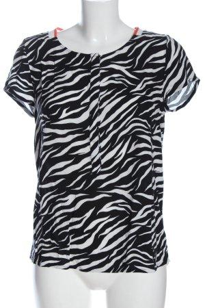 Street One Kurzarm-Bluse schwarz-weiß Allover-Druck Casual-Look