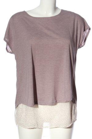Street One Kurzarm-Bluse lila-weiß meliert Casual-Look