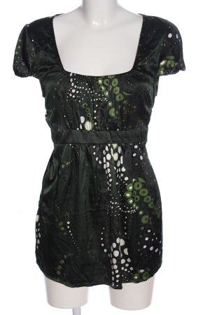 Street One Kurzarm-Bluse grün-weiß abstraktes Muster Casual-Look