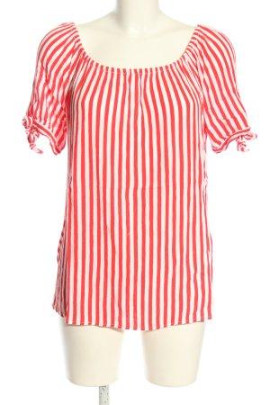 Street One Blouse met korte mouwen wit-rood gestreept patroon casual uitstraling