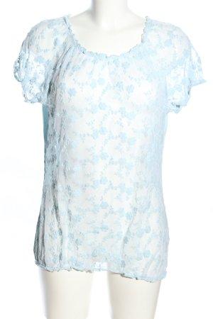 Street One Kurzarm-Bluse blau Blumenmuster Elegant