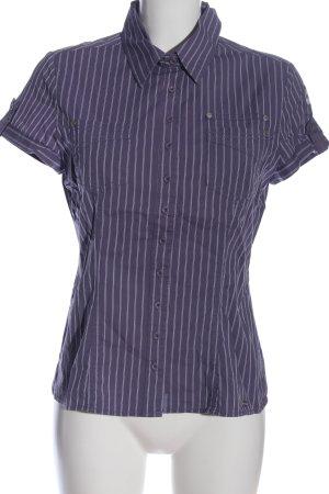 Street One Kurzarmhemd lila-wollweiß Streifenmuster Casual-Look