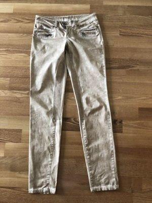 Street One°Lässige Hose°Jeans Style washed beige-braun°Gr. 34°schmaler Schnitt°wie neu