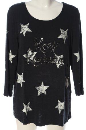 Street One Langarm-Bluse schwarz-silberfarben Schriftzug gestickt Casual-Look