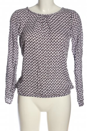 Street One Langarm-Bluse weiß-lila abstraktes Muster Casual-Look