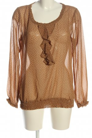 Street One Langarm-Bluse bronzefarben-creme Punktemuster Casual-Look