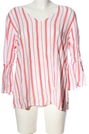 Street One Langarm-Bluse weiß-rot Streifenmuster Casual-Look