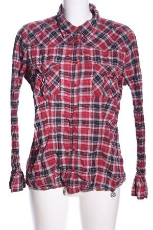 Street One Langarmhemd rot-schwarz Allover-Druck klassischer Stil