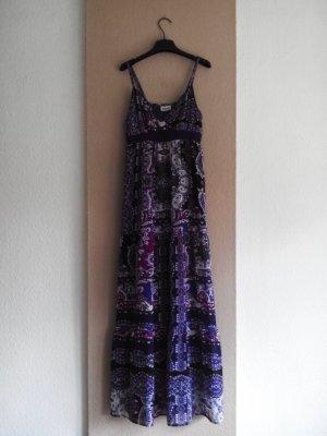 Street One langes gemustertes Trägerkleid in lila Farbkombination, Größe 38, neu