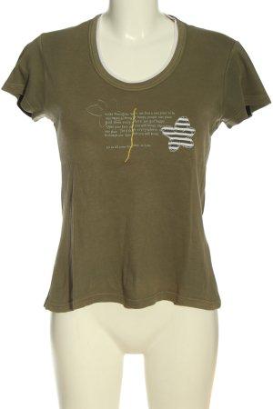 Street One Print-Shirt khaki Schriftzug gedruckt Casual-Look
