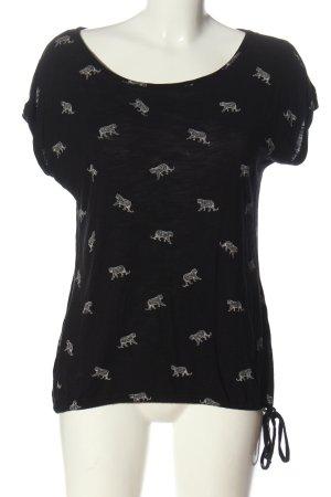 Street One Print-Shirt schwarz-weiß Allover-Druck Casual-Look