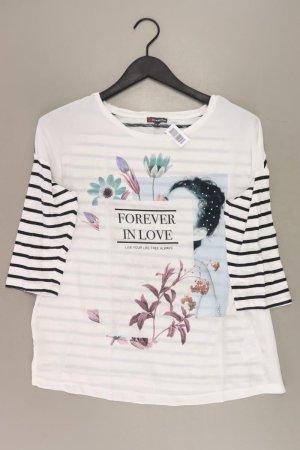 Street One Printshirt Größe 40 gestreift 3/4 Ärmel weiß aus Baumwolle