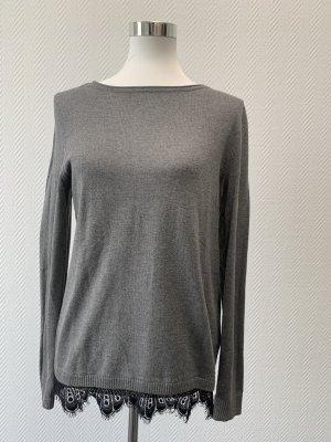 STREET ONE Pullover mit Spitzeborte in grau