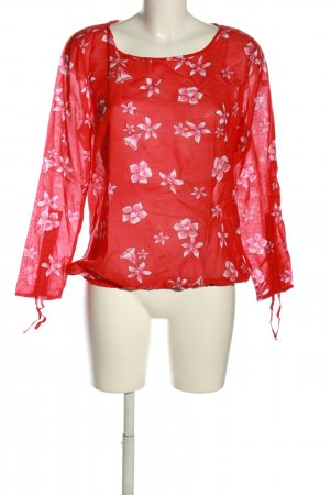 Street One Schlupf-Bluse rot-pink Allover-Druck Casual-Look