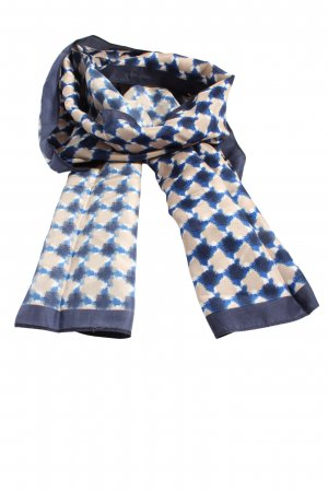 Street One Silk Scarf cream-blue abstract pattern casual look