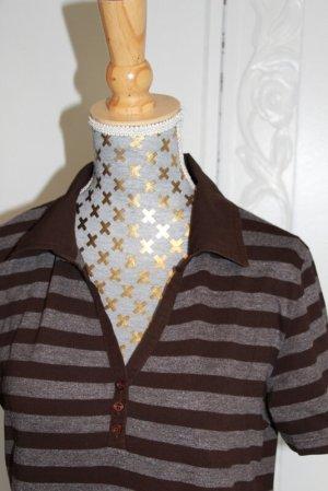 Street One Polo Shirt dark brown-grey brown cotton