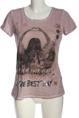 Street One T-Shirt pink-schwarz meliert Casual-Look