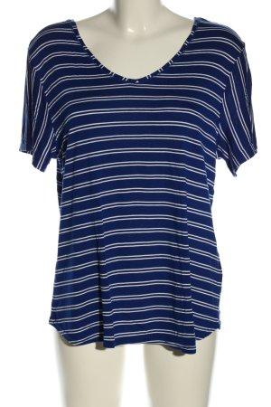 Street One T-Shirt blau-weiß Streifenmuster Casual-Look