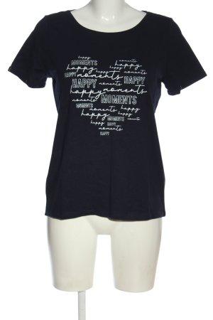 Street One T-Shirt schwarz-weiß Schriftzug gedruckt Casual-Look
