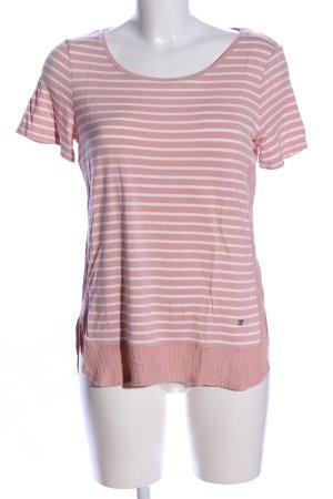 Street One T-Shirt pink-weiß Streifenmuster Casual-Look