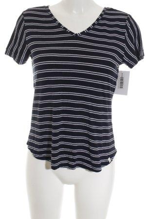 Street One T-Shirt weiß-dunkelblau Streifenmuster Casual-Look