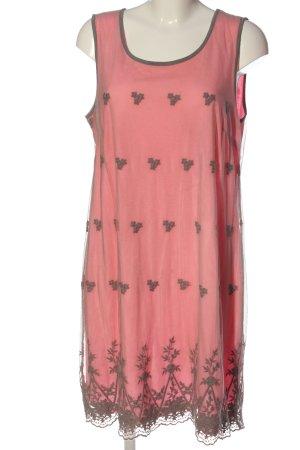 Street One Trägerkleid hellgrau-pink Schriftzug gestickt Casual-Look