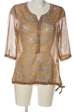 Street One Transparenz-Bluse braun-wollweiß abstraktes Muster Casual-Look