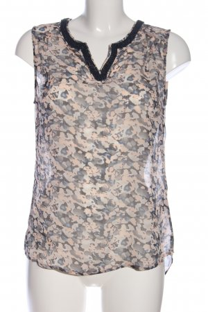 Street One Transparenz-Bluse hellgrau-creme abstraktes Muster Casual-Look