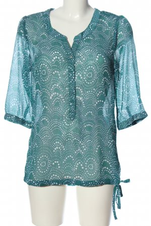 Street One Transparenz-Bluse blau-weiß Allover-Druck Casual-Look