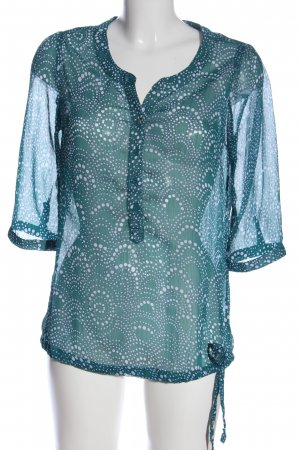 Street One Transparenz-Bluse blau abstraktes Muster Casual-Look