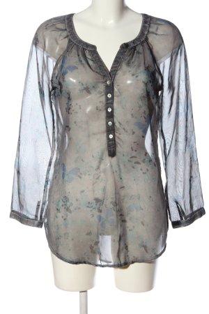 Street One Transparenz-Bluse hellgrau-blau abstraktes Muster Casual-Look