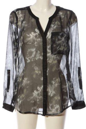 Street One Transparenz-Bluse schwarz-weiß abstraktes Muster Casual-Look