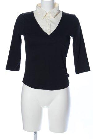 Street One V-Ausschnitt-Pullover schwarz-wollweiß Business-Look
